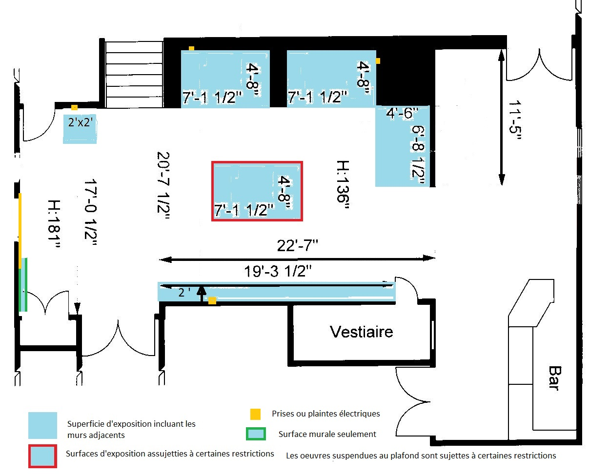 Plan du grand foyer - expositions